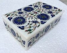 "6""x4""x2"" White Marble Jewelry Box Lapis Inlaid Bedroom Home Decor Arts H3156"
