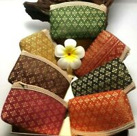 Purse Zip Coins Silk Flower Gold Gift Cute Wallet Pocket Hand Bag Free Shipping