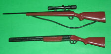 Two 1/8 Scale Plastic Gun Miniature Toys - Rifle and Shotgun for Action Figures