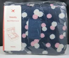 New Travelus Toiletry Cosmetic Make Up Bag Makeup Organizer-Navy Blue Flowers