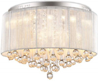 FEEKENBU Flush Mounted Luxury Contemporary Drum Ceiling Chandelier Light with