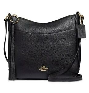 ❤️ NWT Coach Chaise 35543 Polished Pebble Leather Black/Gold Crossbody