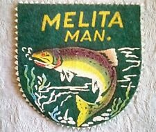 Melita Man Vintage Patch Fishing Green Embossed Felt 3.5 x 3.5 inches