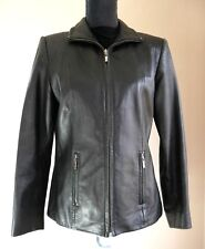 Valerie Stevens Petite Black Soft Leather Full Zip Fitted Blazer Jacket Sz Small