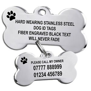 Stainless Steel Dog id Tags Pet Tags Engraved ID Collar Tag Silver Bone