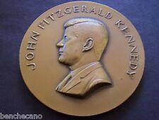 JOHN F. KENNEDY  ANTIQUE BRONZE HIGH RELIEF MEDALLION by MEDALLIC ART CO.N.Y.
