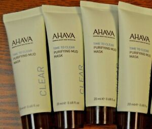 Lot Of 4 Ahava Time to Clear Purifying Mud Mask 20ml/.68oz Each IPSY Sealed!