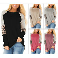 Women's Leopard Print Color Stripe Round Neck Loose Top Long Sleeve T-Shirt