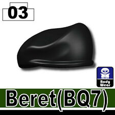 Black Beret (W24) BQ7 Army beret hat military compatible with toy brick minifig