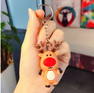 Elk Merry Christmas Tree Decoration Keychain Xmas NewYear Kid Gift Free Shipping
