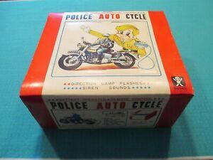 Vintage Tin Battery Operated Bandai (Japan) Police Motorcycle In Original Box