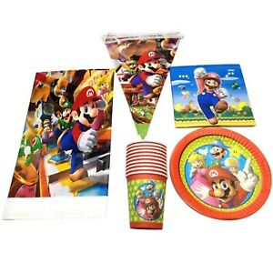 Super Mario Kart Game Party Supplies tablecloths/banners/napkins/plate /Loot ba