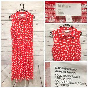 Hi There KAREN WALKER Size 10 Polka Dot Midi Shirt Dress