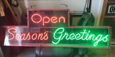 """Large """"Season's Greeting Open�Neon Sign Multi Color"""
