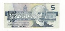 "1986 Canada $5 Note,Thi/Cro BC-56bA, Ser # FNX 7483458 Sm ""F"""