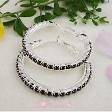 Black Diamonte / Diamante 1 Row Hoop Earrings 3cm - NEW!!!
