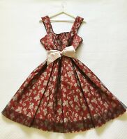 NEW CUE RARE! RUBY FLORAL MESH OVERLAY FIT FLARE SWING PLEAT COCKTAIL DRESS SZ 8