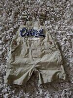 OshKosh B'gosh Baby Boys Overall Classic Khaki Shortalls~Sz 6 Month Overalls