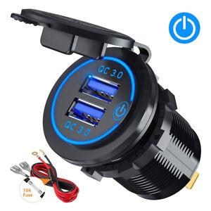 12V Car Fast Charger Dual USB Port Power Outlet Cigarette Lighter Adapter Socket