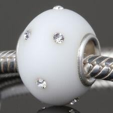 "Andante-Stones Massiccio Argento 925 VETRO OPACO Bead kerastyle ""Snowball"" Bianco #3421"