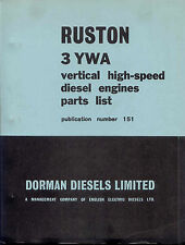 Ruston 3 YWA vertical high-speed diesel engine parts list  (Dorman Diesels Ltd)