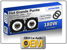 "Fiat Grande Punto Rear Door speakers Alpine 10cm 4"" car speaker kit 180W Max"