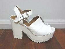 "WITTNER ""AS NEW"" Sz 40 (9) LEATHER HEELS Shoes PLATFORM Givenchy Curious White"