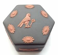 Wedgwood Horus Egyptian Hexagon Trinket Box - Black and terracotta Jasperware