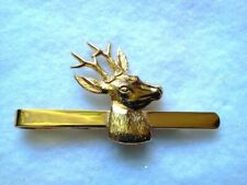 Hunters Theme Tie Bar Gold Tone Deer Buck-Made In Czech