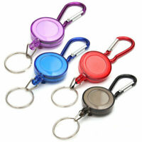 UK 1X Retractable Stainless Pull Ring Key Chain Recoil Keyring Heavy Duty Steel
