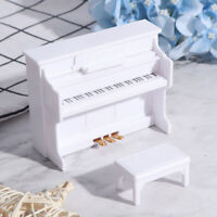 1:12 Dollhouse Miniature White Piano with Music Stool Dolls House Accessories TP