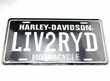 Harley Davidson Motorcycles LIV2RYD Licensed Aluminum Metal License Plate Tag