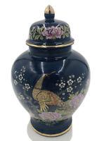 """Japanese Cobalt Blue Gold Peacock Pink Roses Porcelain Ginger Jar Urn & Lid 8"""""""