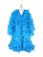Blue#1 Chiffon Organza cabaret Drag queen Show girl Ruffle Coat