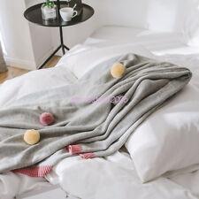 Gray Pom Pom Plush Throw Blanket Luxury Lovely Lounge Cover Knitted Blanket Soft