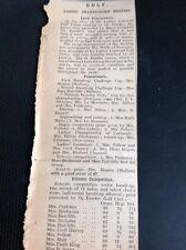 L5-3 Ephemera 1926 Article Ladies Golf Championship Cornwall Mrs Meares Prideaux