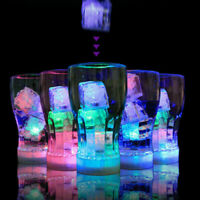 12Pcs Water Submersible Light Up LED Ice Cube Color Changing Party Luminous DIY