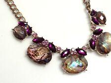 EXQUISITE Napier Necklace- Purple Rhinestones & Abalone Cabochons- ESTATE