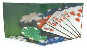 Leather Poker Style Themed Wallet Cards Chips Credit Card Holder PU