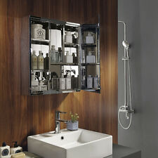 BN Luxury Stainless Steel  Wall Mount Mirror Storage Cabinet Cupboard Bathroom