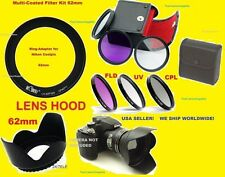 TO NIKON P510 P520 P530 COOLPIX CAMERA -> RING ADAPTER+FILTER KIT+LENS HOOD 62mm