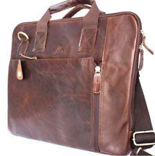 Genuine vintage Leather Shoulder Satchel Bag handbag RETRO man's 13 laptop tote