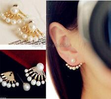 Lovely Women Crystal Golden Front&back Imitation Pearl Ear Stud Earrings Earbob