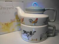 TEA FOR ONE STACKING TEAPOT Quality Porcelain FARM ANIMALS  TWO CUP TEA POT CUP