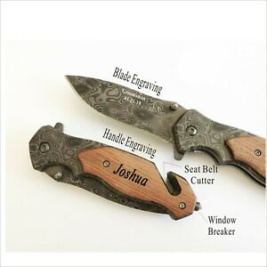 Groomsmen Gift-Personalized, Engraved, Rescue Damascus Pocket Hunting Wood Knife