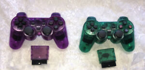 Wireless Shock Game Controller Lot for the Ps2 Transparent Green & Purple