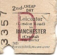 B.R.B. Edmondson Ticket - Leicester London Road to Manchester Central