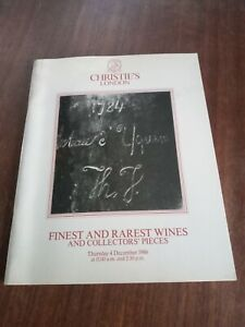 Christies Finest And Rarest Wines And Collectors Pieces 1986 Catalogue