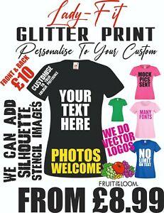 Womens Glitter Printed T shirts Custom Ladies Tshirt Personalised Text Sparkle