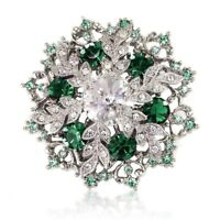 Emerald Green Xmas Brooch Swarovski Element Crystals Silver Tone Gift Boxed
